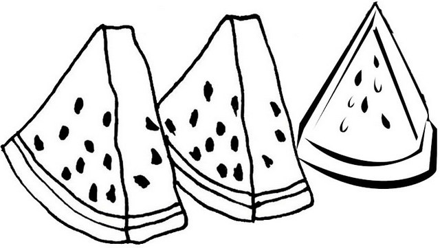 3 Slices Of Watermelon Coloring Pages Mitraland