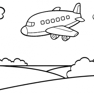 Airplane Landing to the Park Coloring Page