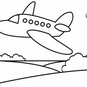 Airplane Taking Off Over the Park Coloring Page
