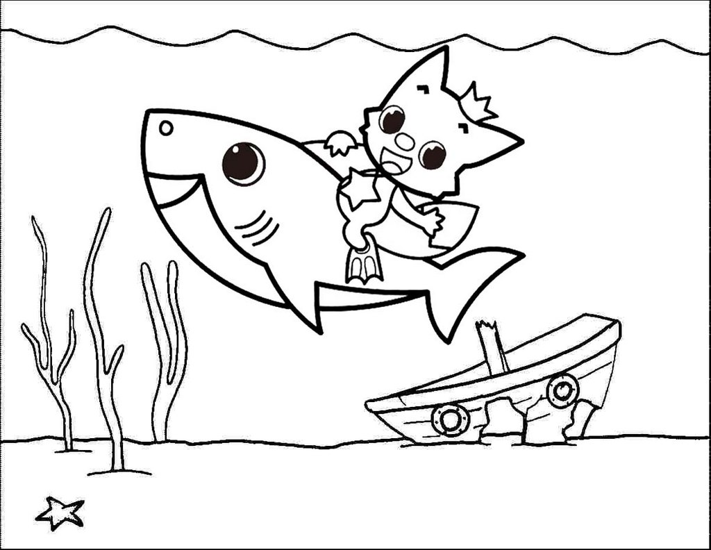 Baby Shark Underwater Coloring Page - Mitraland
