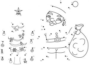 Christmas Tree and Santa Claus Connect the Dots
