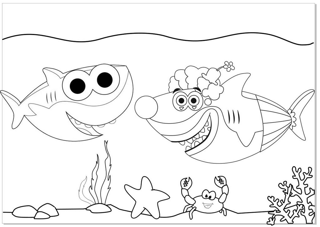 Daddy Shark and Mummy Shark Coloring Page of Baby Shark ...