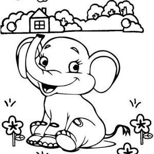 Elephant Playing in the garden cartoon coloring page