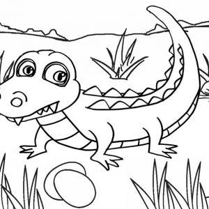 Fun baby crocodile cartoon coloring pages