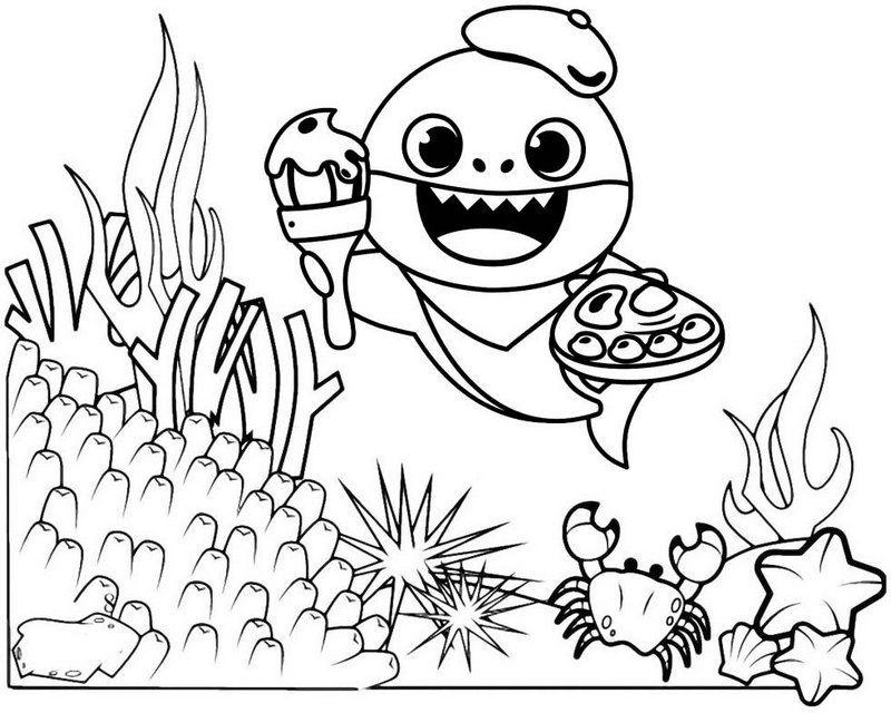 Funny Baby Shark Coloring Page for Free - Mitraland