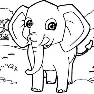 Funny Elephant With Mountain Landscape Coloring Pages