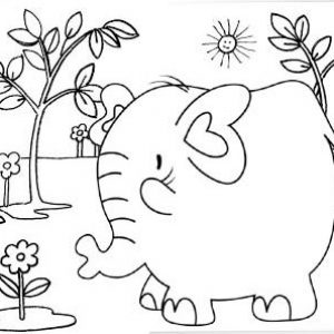 Funny elephant coloring page for kids