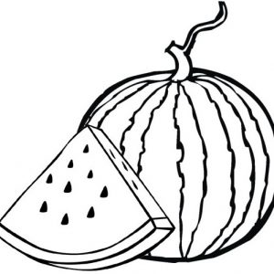 Healthy Fruit Watermelon Coloring Page for Kids