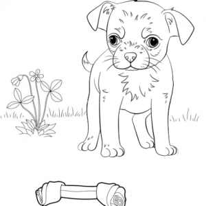 Puppy Dog finding bone coloring page
