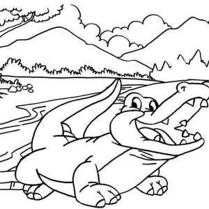 Simple Crocodile with Mountain Landscape Coloring Page