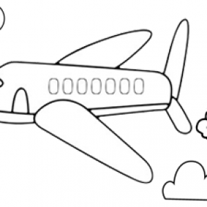 Simple Plane Flight Coloring Page