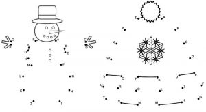 Snowmen and Christmas Tree Connect The Dots