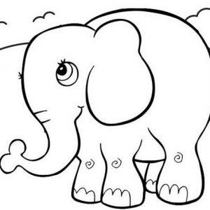 Top Fun Elephant Cartoon Coloring Page