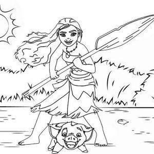 Moana Brave Princess Coloring Page