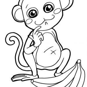 Monkey and Banana Coloring Page