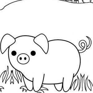Sad and Mum Pig Cartoon Coloring Page