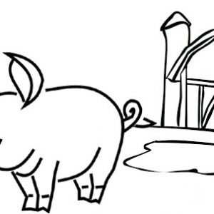 Simple Pig and His House Coloring Page