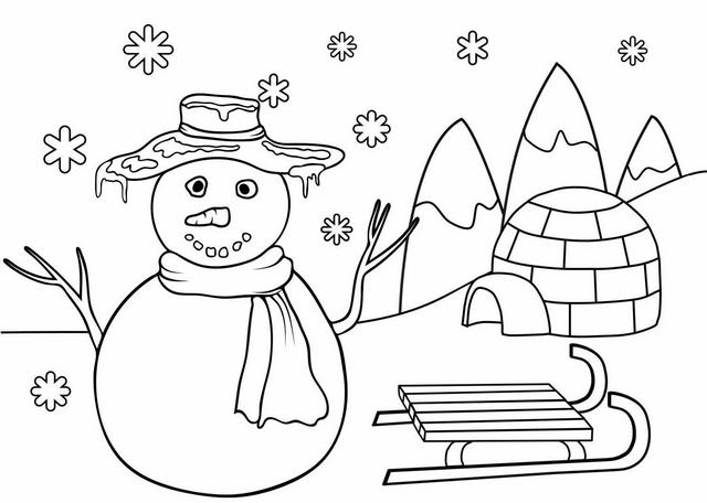 Cute Snowman Coloring Page For Kids Mitraland