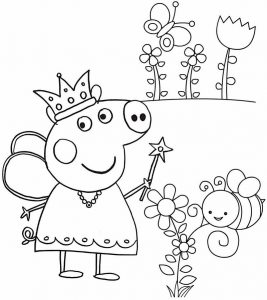 Beautiful Fairy Peppa Pig Coloring Sheet