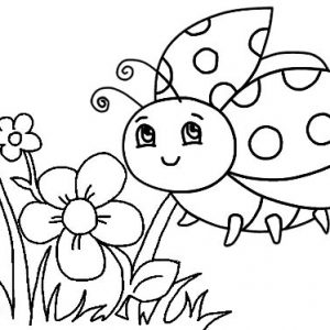 Beautiful Ladybug Flying around Flower Coloring Page