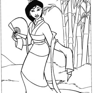 Beautiful Mulan Princess Coloring Sheet from Bunga