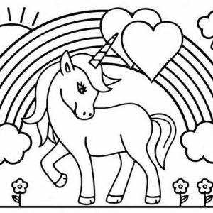 Beautiful Unicorn Love Coloring Page