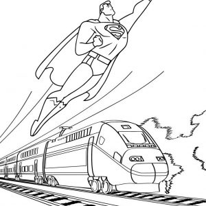 Best Superman Flying with Train Background Coloring Page