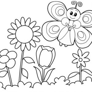 Butterfly Dancing around flowers Coloring Page
