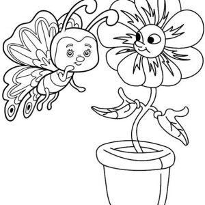 Butterfly Whispers to the Flower Coloring Page