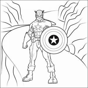 Captain America with Shield Coloring Project from Sarah