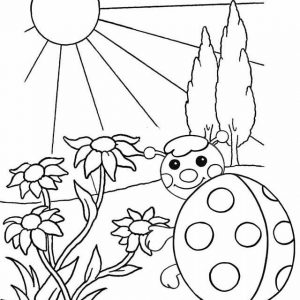 Cartoon ladyblug waiting sunrise coloring project