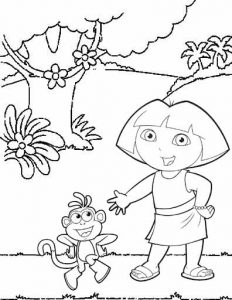 Cute Dora and Boots The Explorer Coloring Page