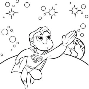 Cute Superman Cartoon Coloring Sheet from Ahmed