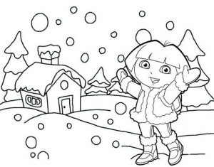 Doa Save Snow Princess Coloring Sheet of Dora the Explorer