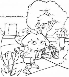 Dora Escape Coloring Sheet for Girls