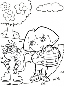 Dora and Boots Picking Fruits Coloring Sheet
