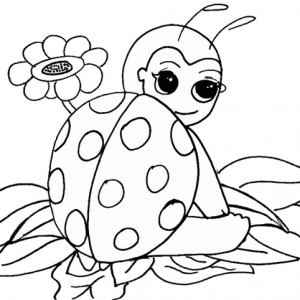 Funny Ladybug cartoon coloring page from Bedu
