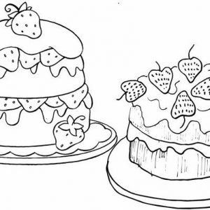 Homemade Strawberry Cake Coloring Page