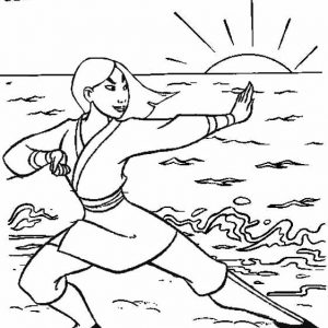 Hua Mulan Ready to Fight Coloring Page from Resha
