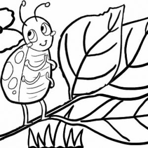 Ladybug cartoon creeping on the tree coloring idea