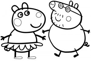 Mandy Mouse and Daddy Pig of Peppa Pig Coloring Page