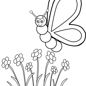 Orange Butterfly Coloring Page from Omesh