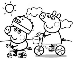 Peppa Pig Going By Bike Coloring Sheet