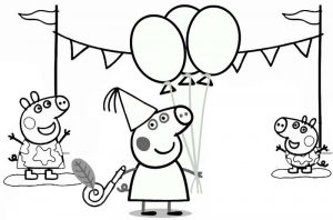 Peppa Pig Happy Birthday Coloring Page