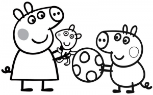 Peppa Pig Playing a Ball Coloring Page