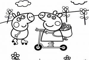 Peppa Pig Scooter Coloring Page