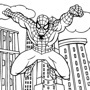Spiderman jumping out from skycrapers coloring page from Zakia