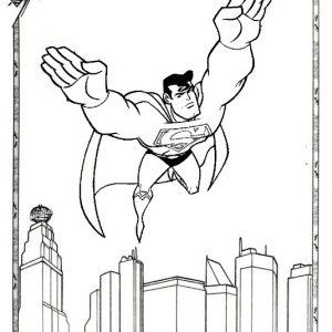 Strong Superman Flying Coloring Page