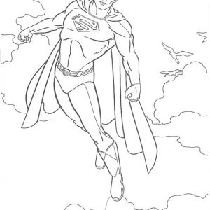 Superman Flying to Space Coloring Sheet from Nandya