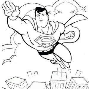 Superman Justice League Flying over Skyscraper Coloring Page